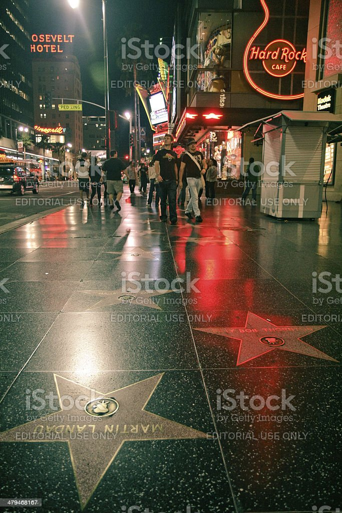 Hollywood Walk of Fame at night stock photo