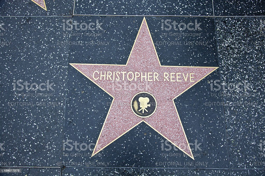 Hollywood Walk Of Fame Star Christopher Reeve royalty-free stock photo