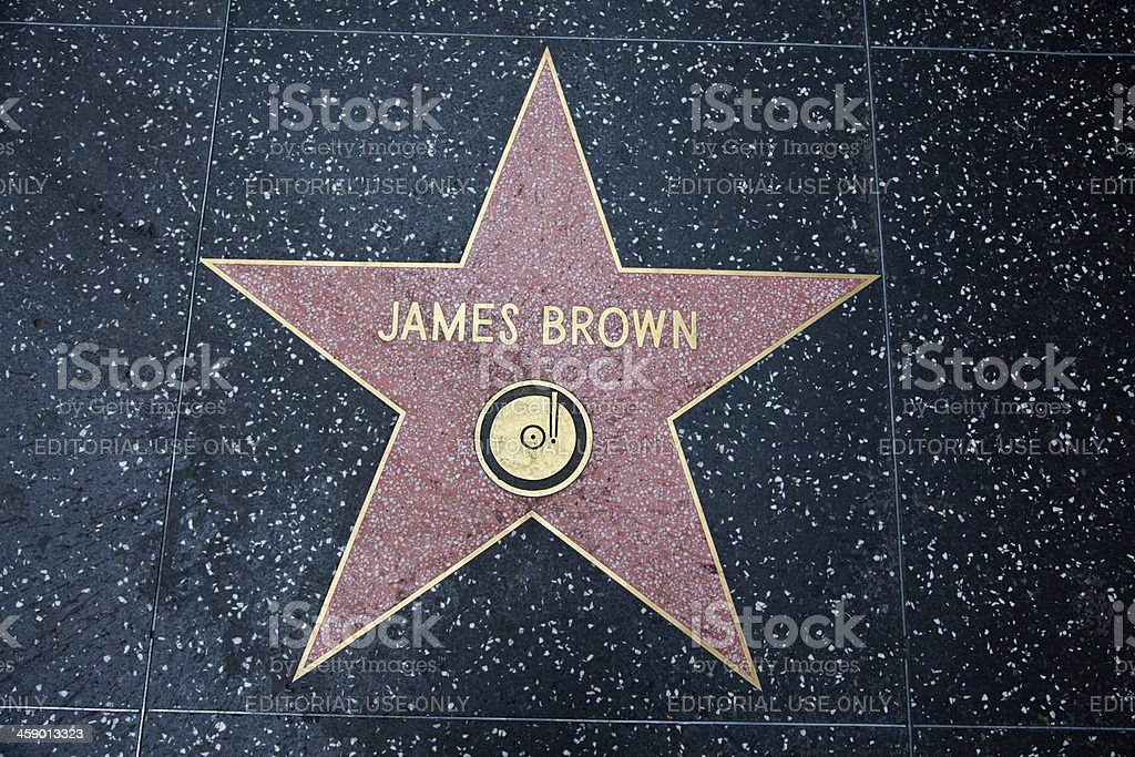 Hollywood Walk Of Fame Star James Brown stock photo