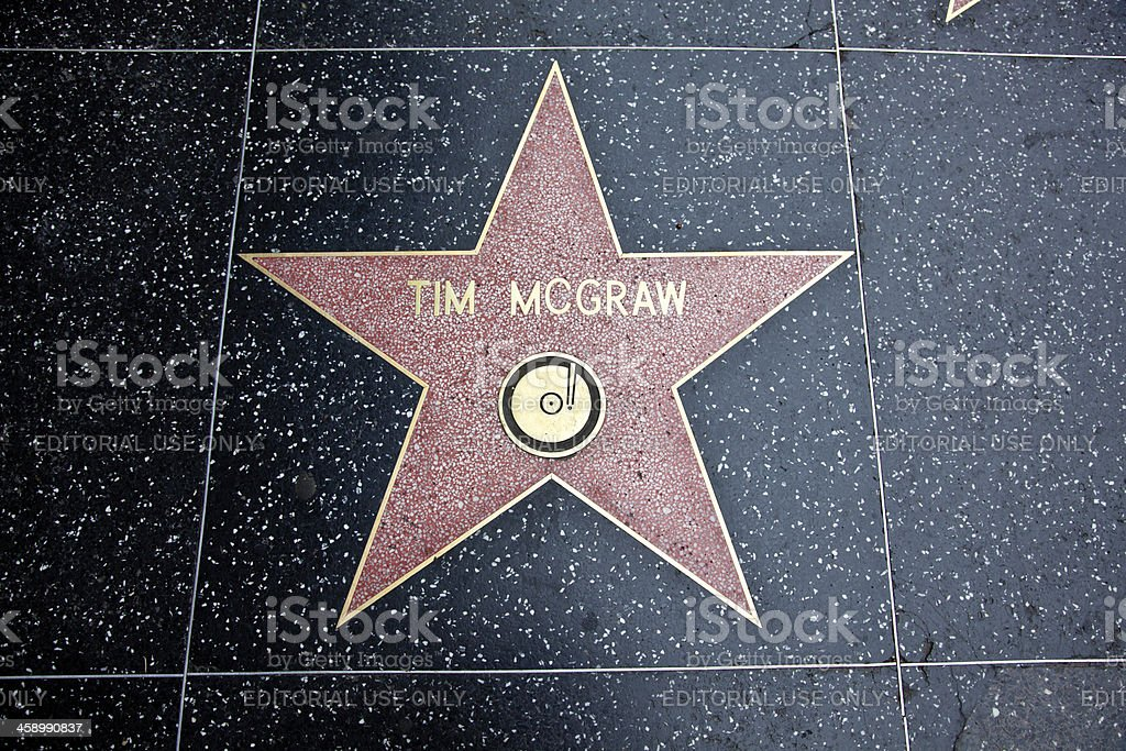 Hollywood Walk Of Fame Star Tim McGraw royalty-free stock photo