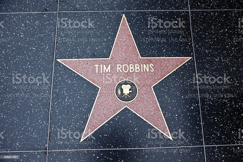 Hollywood Walk Of Fame Star Tim Robbins stock photo