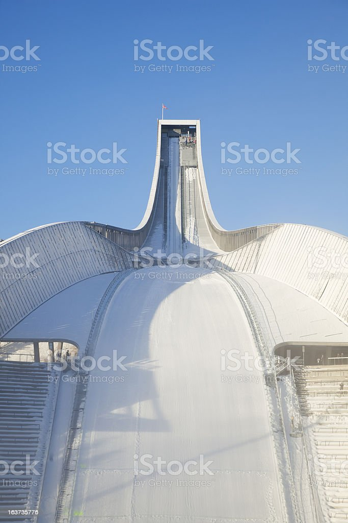 Holmenkollen ski jump against blue sky in winter. stock photo
