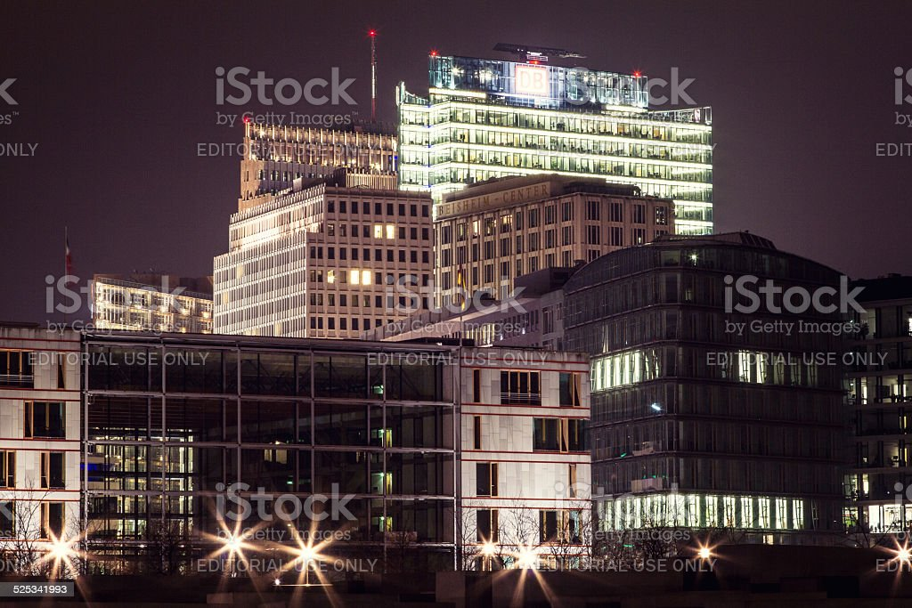 Holocaust Memorial and Potsdamer Platz in Berlin stock photo