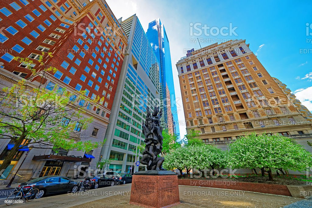 Holocaust sculpture on Benjamin Franklin Parkway in Philadelphia stock photo