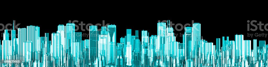 Hologram city panorama stock photo