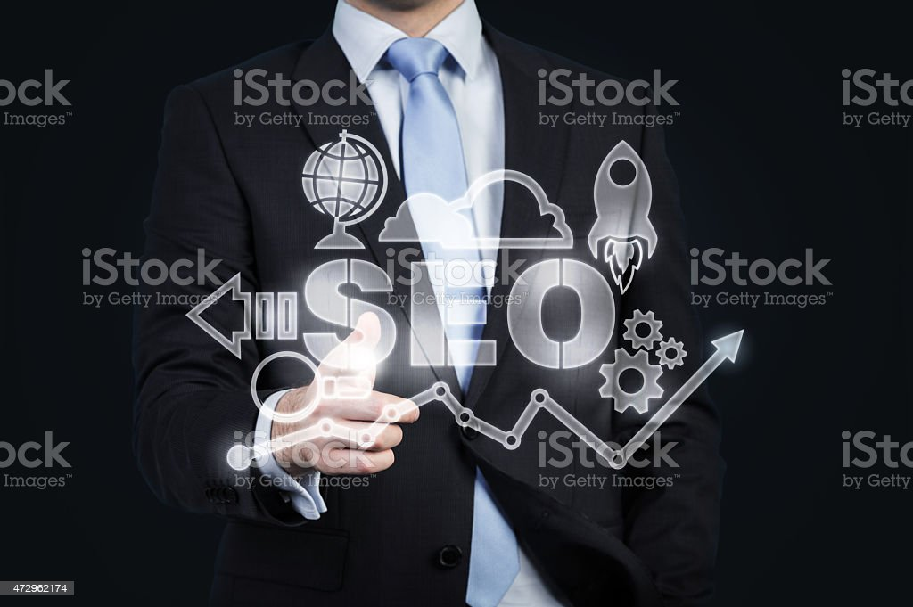 hologram of business icons stock photo