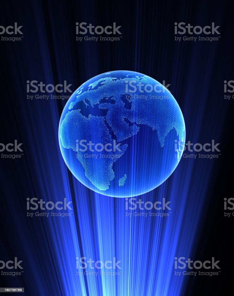 A hologram of planet earth in blue stock photo