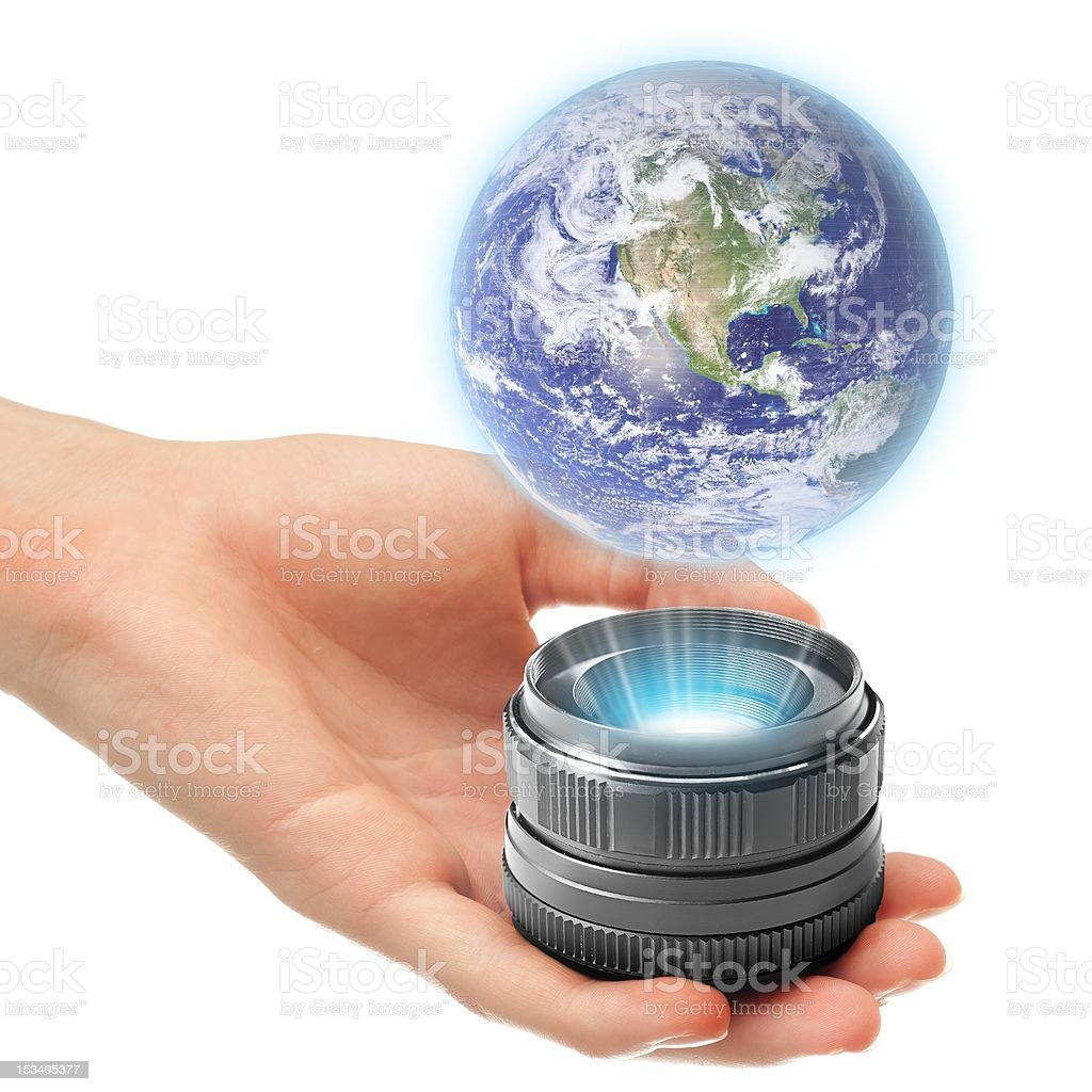 Holographic Earth stock photo