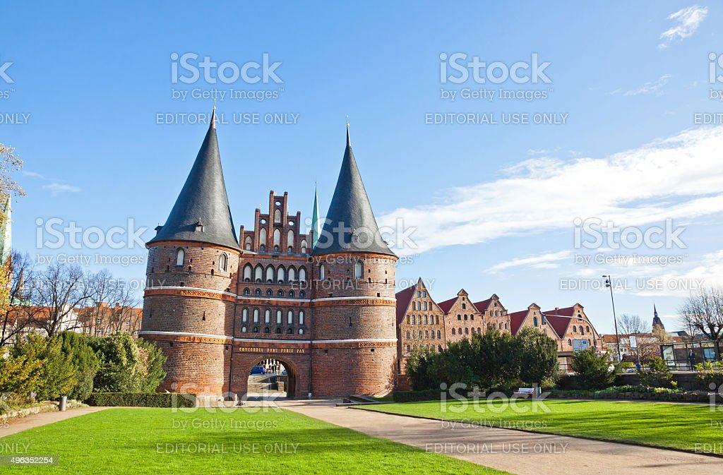 Holsten Gate in Lubeck old town, Germany stock photo