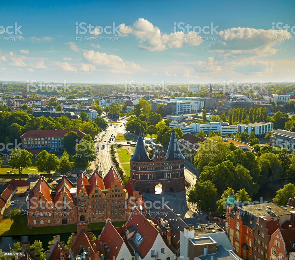 Holstentor Gate in Lubeck old town, Germany stock photo