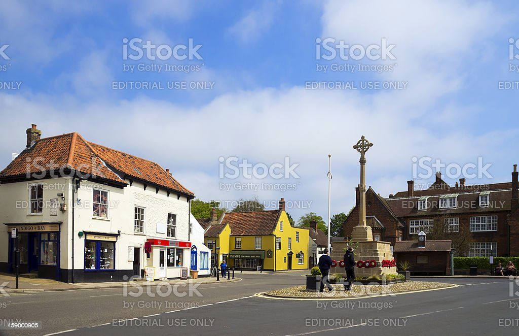 Holt war memorial and Gresham's Old School House stock photo