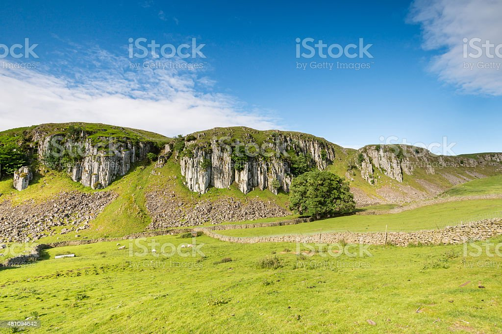 Holwick Scar on a sunny day stock photo