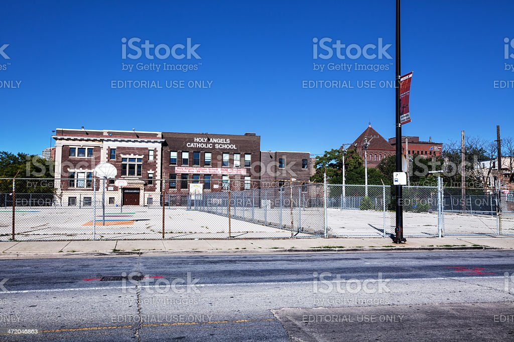 Holy Angels Catholic School in Grand Boulevard, Chicago stock photo