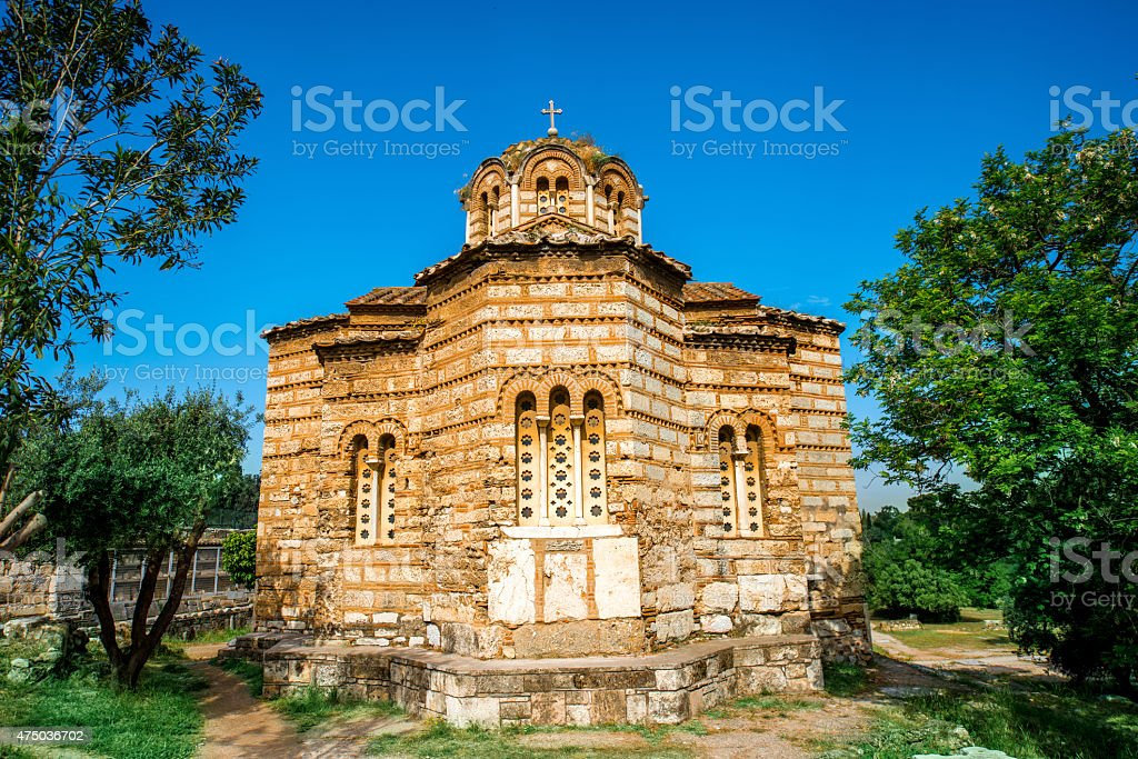 Holy Apostles church in Agora stock photo