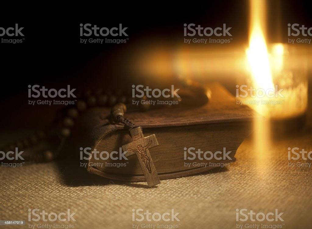 Holy Bible and Rosary Beads royalty-free stock photo