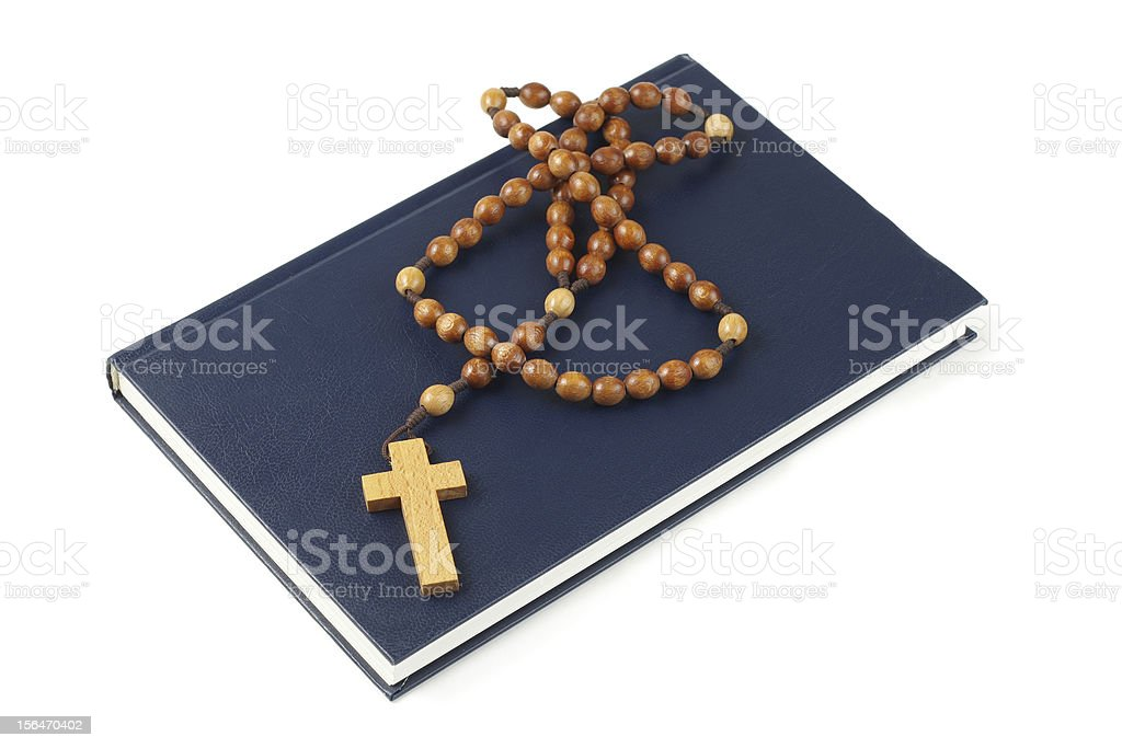 Holy Bible and rosary breads royalty-free stock photo