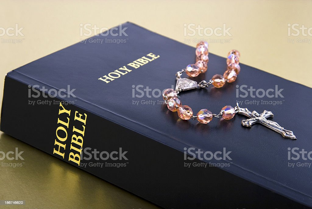 Holy bible and rosary royalty-free stock photo