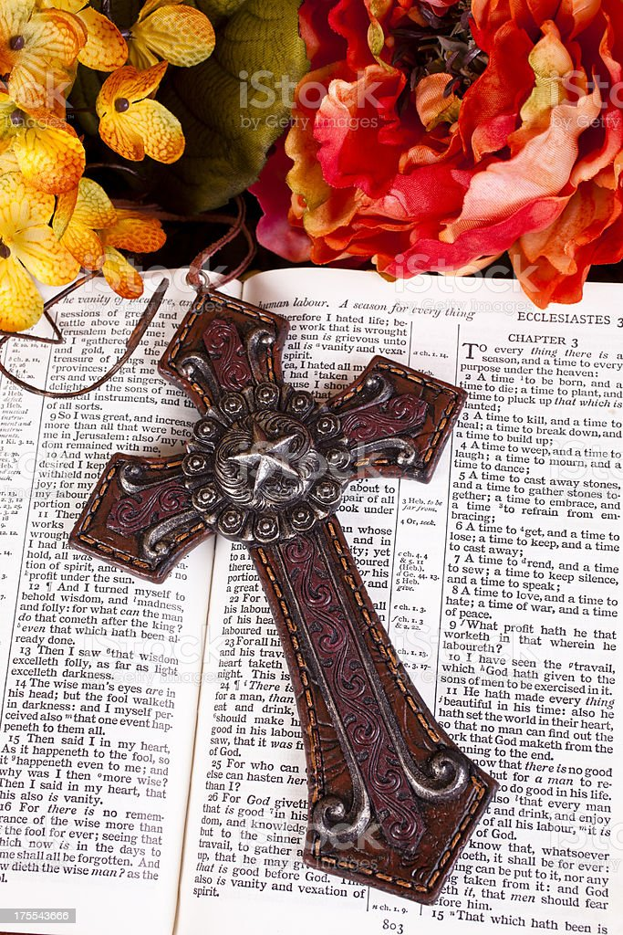 Holy Bible - flowers and cross royalty-free stock photo