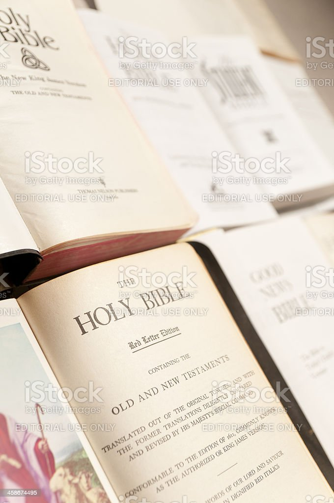 Holy Bible Title Pages Close Up royalty-free stock photo