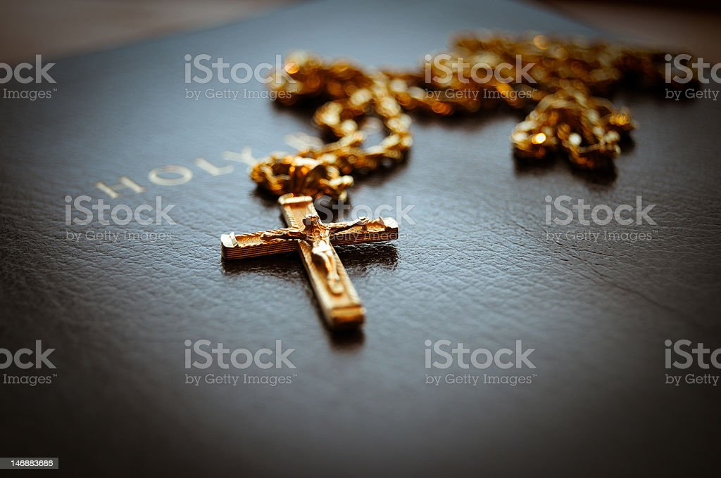 Holy bible with cross royalty-free stock photo