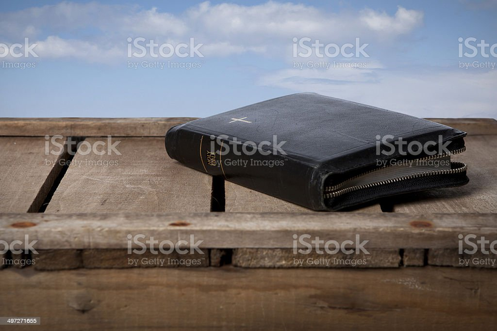 Holy bible with heaven stock photo