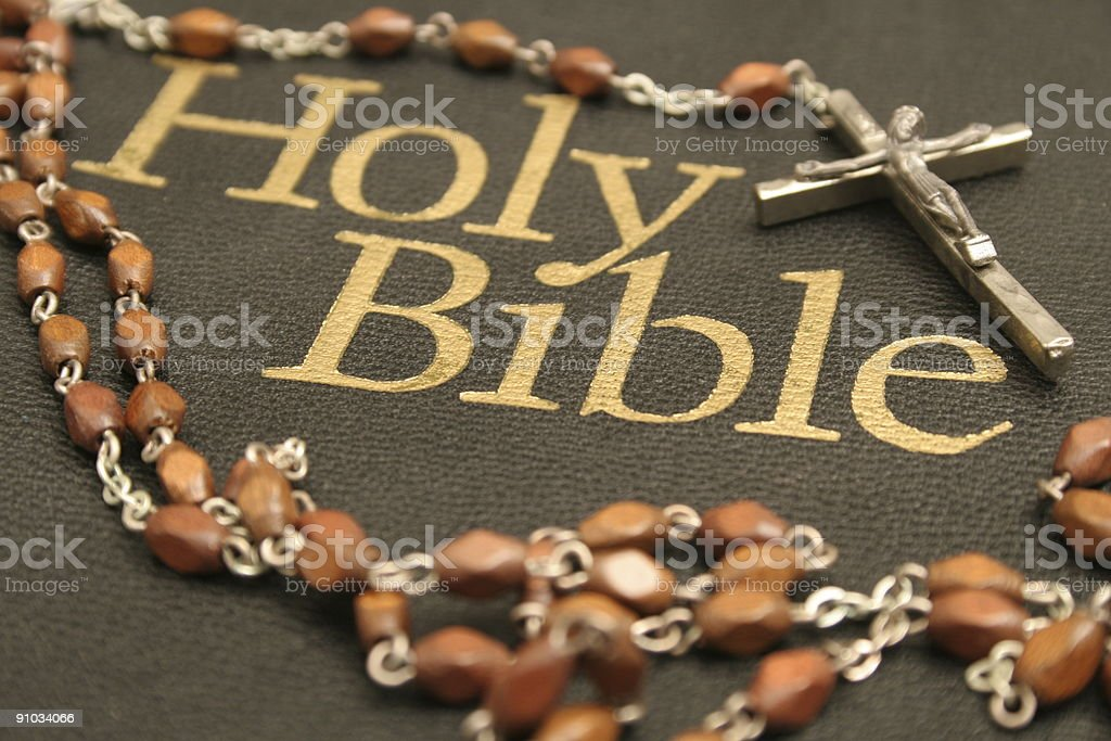 Holy Bible with Rosary royalty-free stock photo