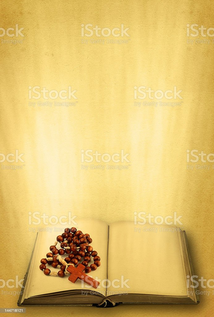 holy book and rosary royalty-free stock photo