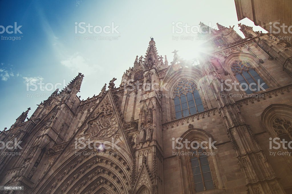 Holy Cross and Saint Eulalia cathedral in barrio gotico, Barcelona stock photo