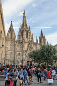 Holy Cross Cathedral in Gothic Quarter of Barcelona in Spain.