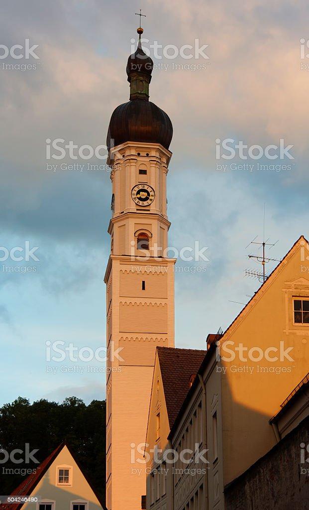 Holy Cross Church (Heilig-Kreuz-Kirche, ehem. Klosterkirche), Donauworth, Germany. stock photo