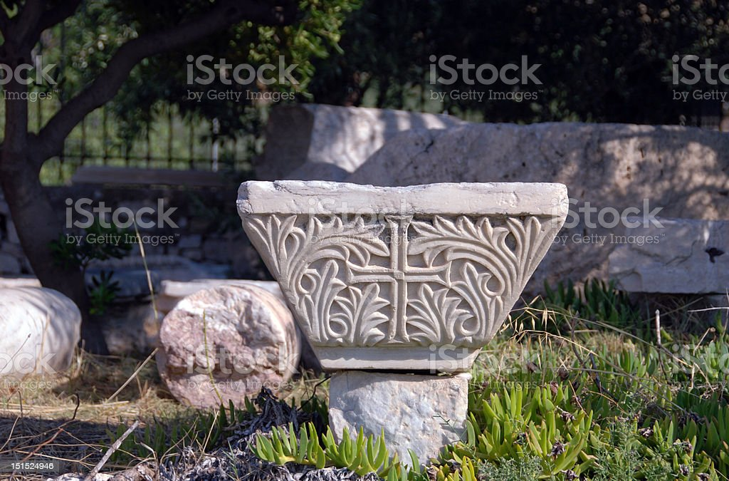 holy cross in garden stock photo
