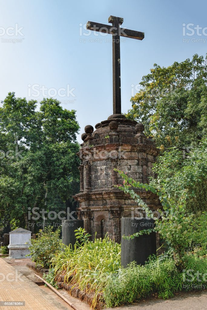Holy cross outside the Church in Old Goa, India stock photo