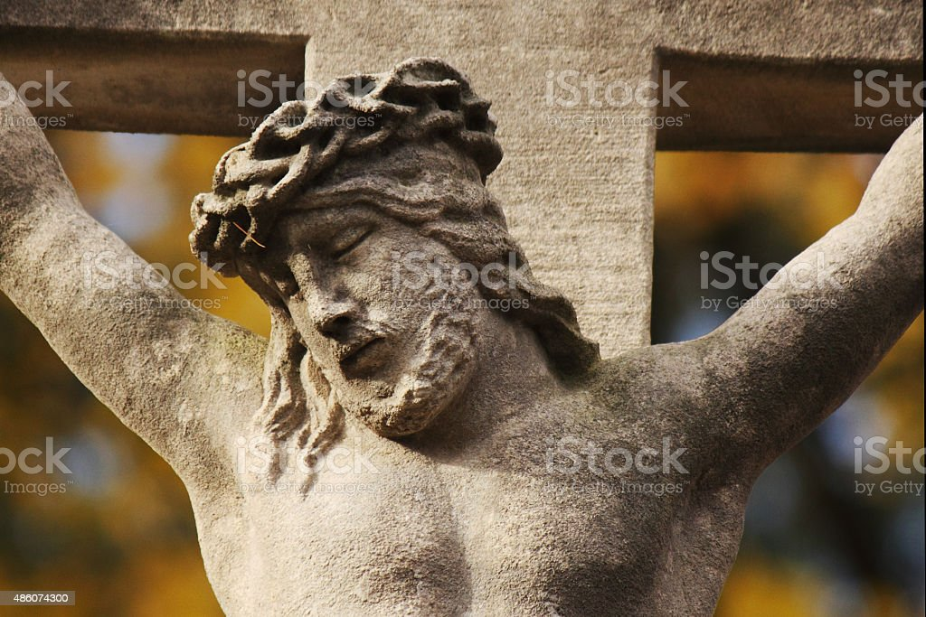 Holy cross with crucified Jesus Christ stock photo