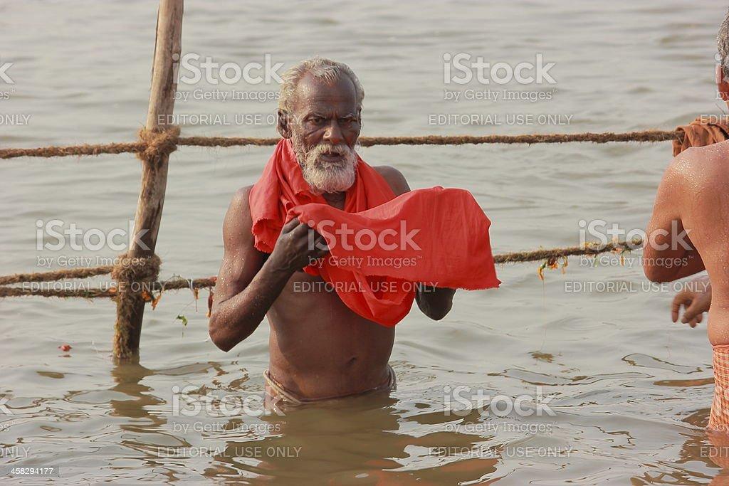 Holy dip in river Ganga - Kumbh 2013 stock photo