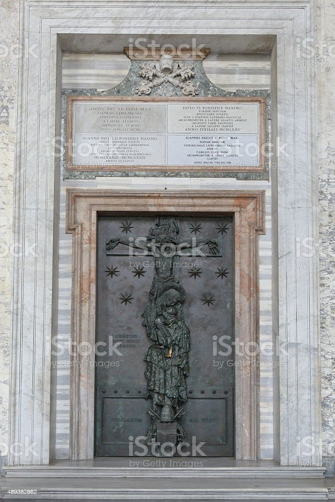 Holy Door of Archbasilica of St. John in the Lateran stock photo