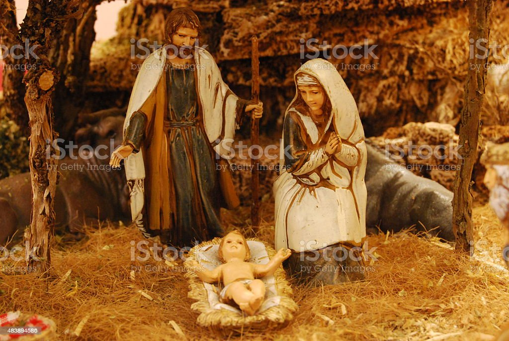 Holy Family in old Palestine stock photo
