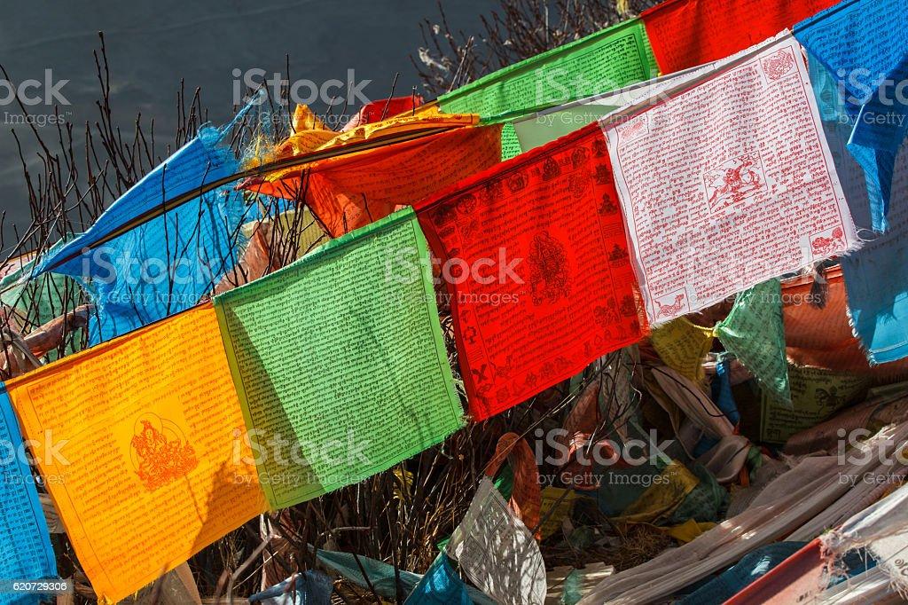 Holy flag for praying stock photo