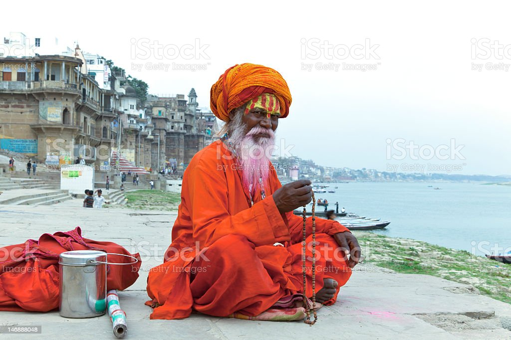 A Holy Indian Sadhu in traditional Indian clothing outside royalty-free stock photo