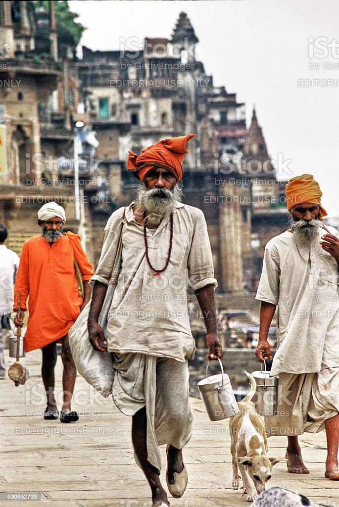 Holy Indian Sadhus at Varanasi stock photo
