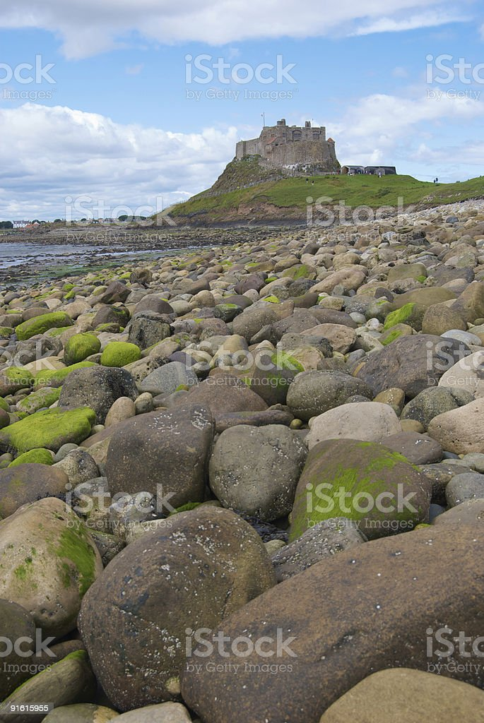 Holy Island castle stock photo