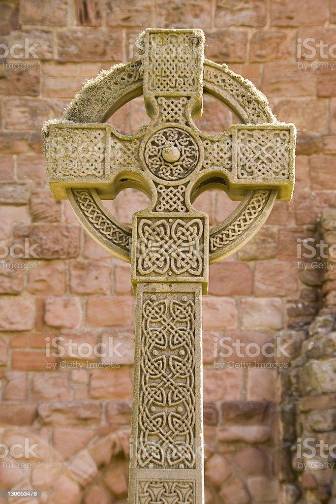 Holy Island Celtic Cross stock photo