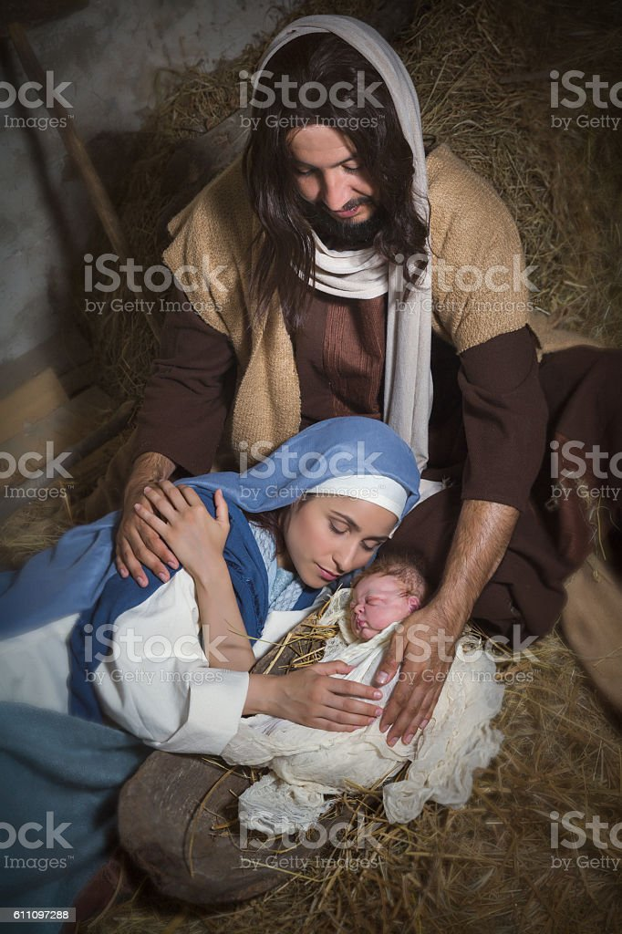 Holy Jesus in nativity scene stock photo