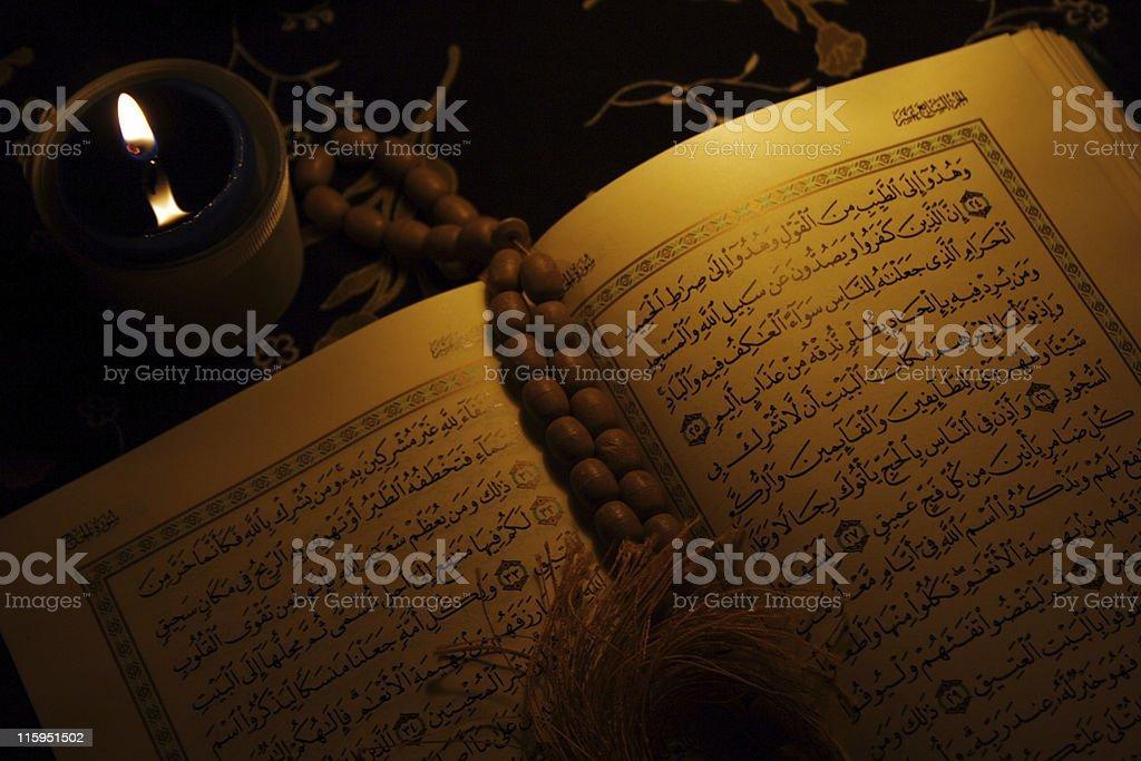 Holy koran book , rosary royalty-free stock photo