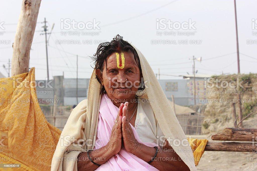 Holy Lady in Kumbh 2013 stock photo