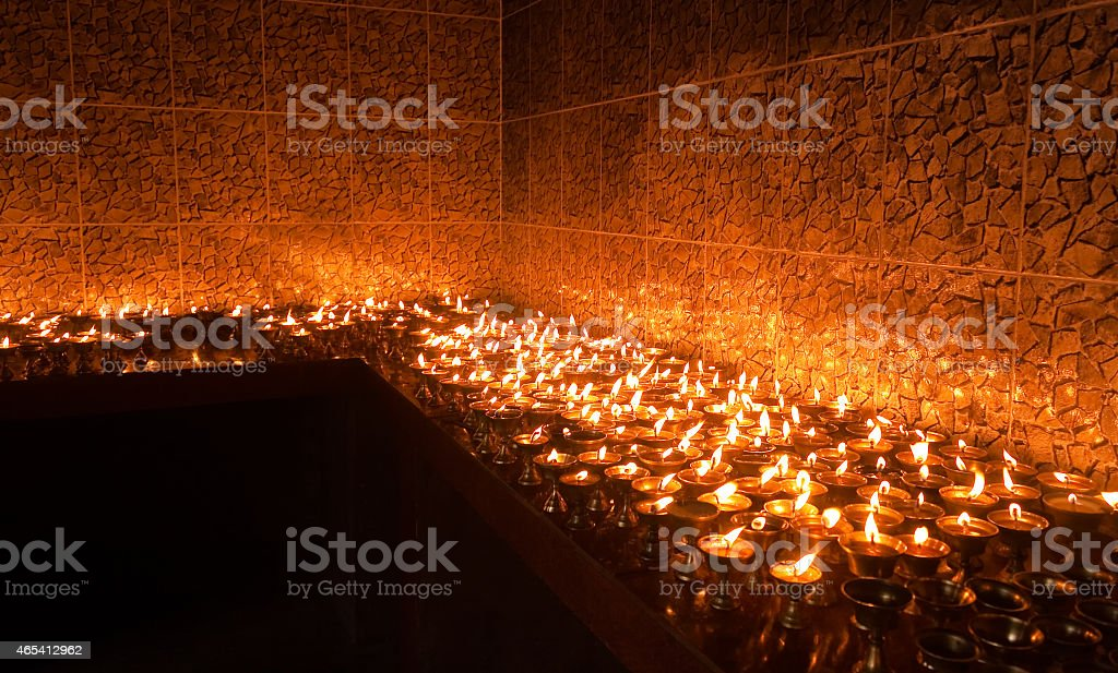 Holy lamps of Ghee stock photo