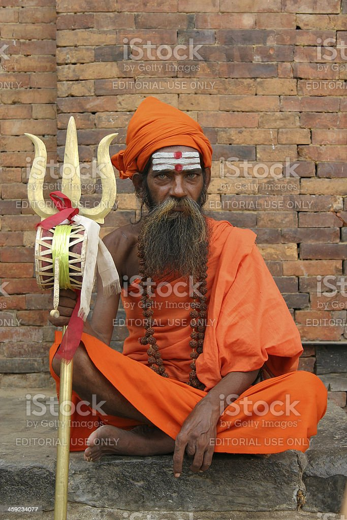 Holy man in Nepal royalty-free stock photo