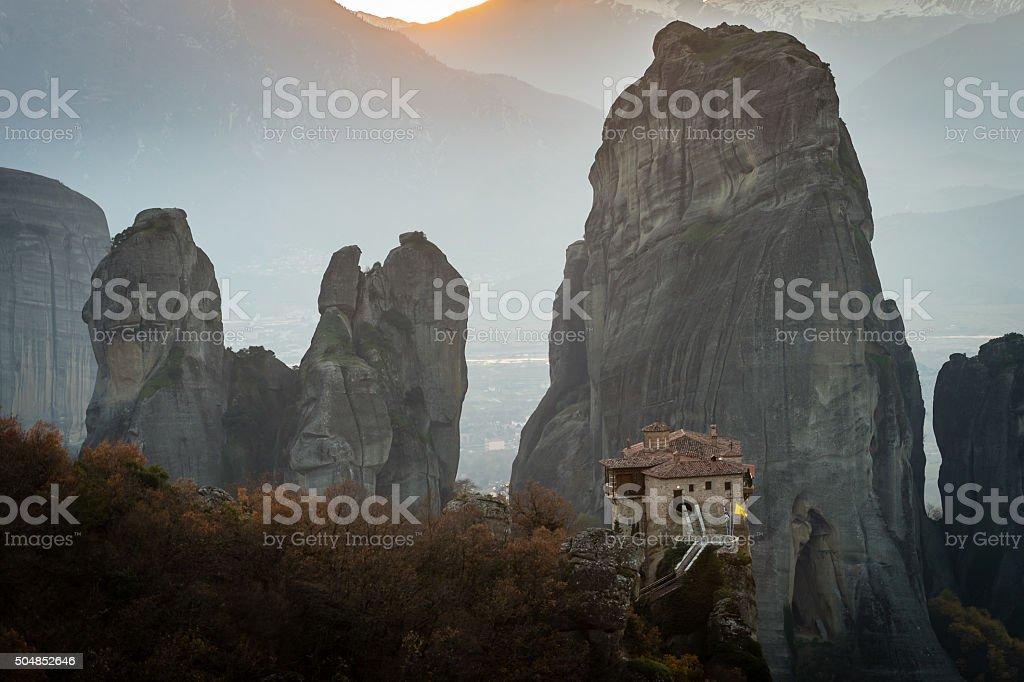 Holy Monastery of Rousanou, Kalambaka, Greece stock photo