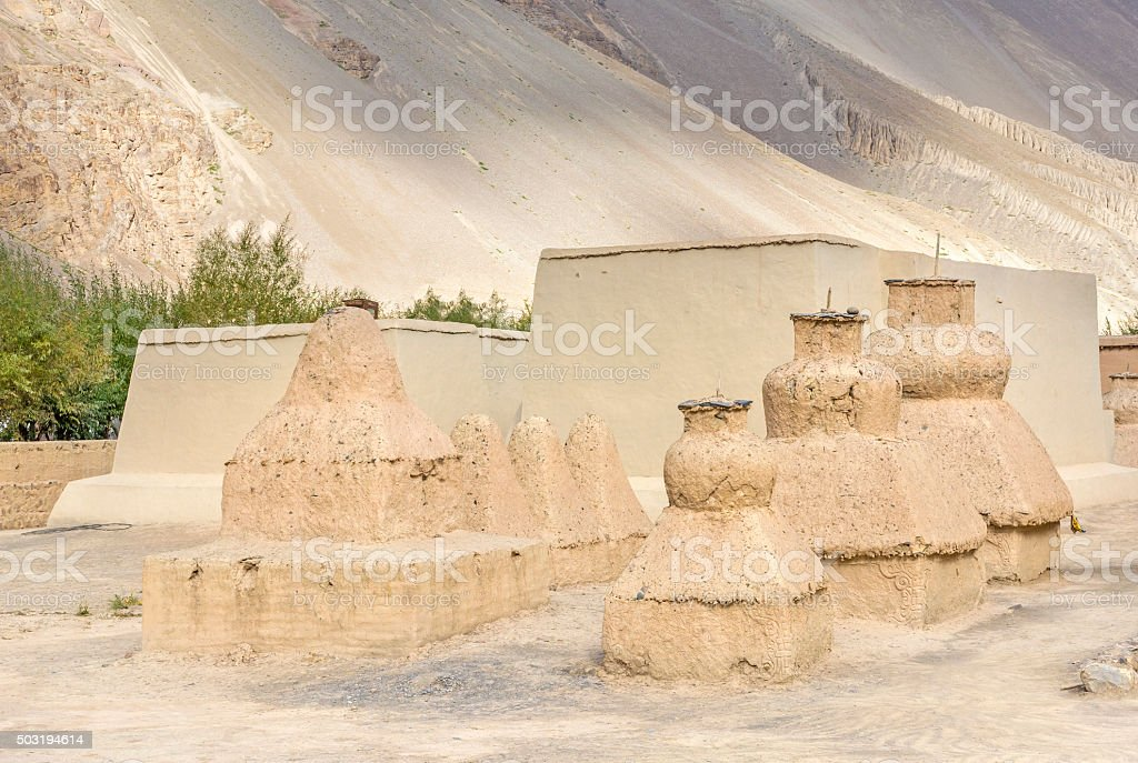 Holy Mud stupas in tabo Monastery stock photo