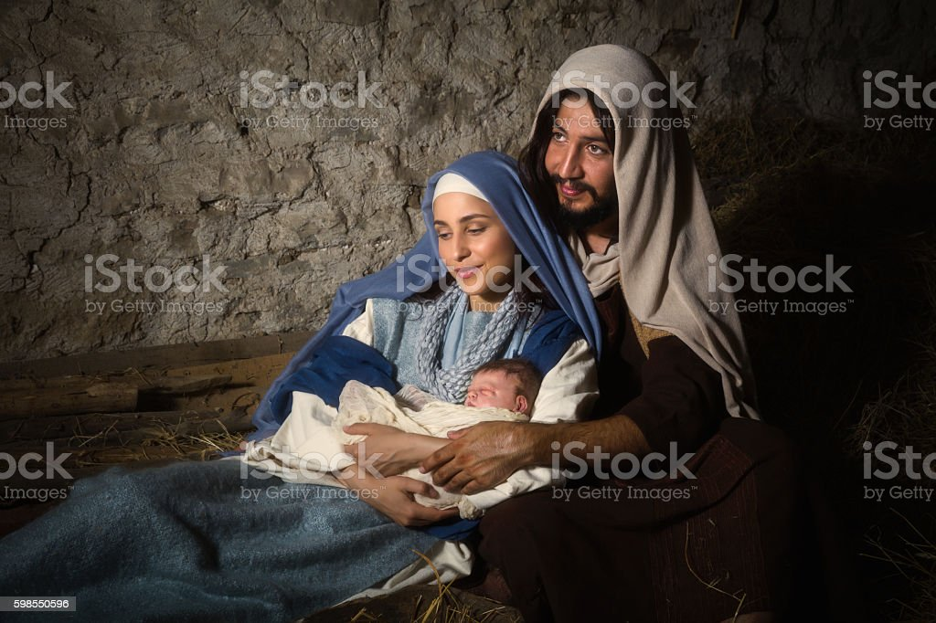 Holy parents in nativity scene stock photo