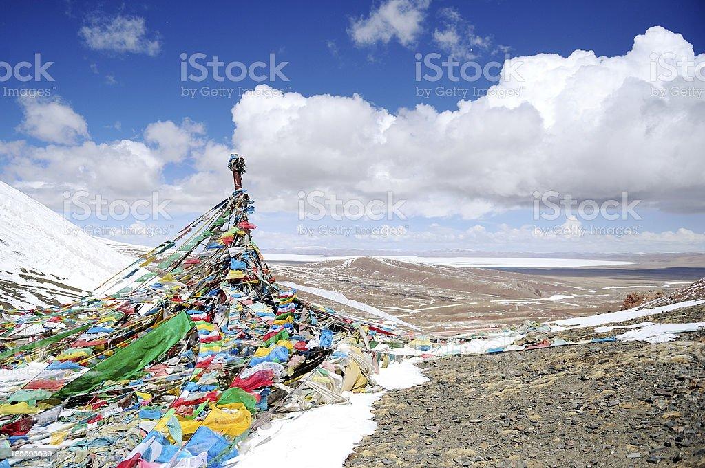 Holy Prayer Flag at the Lakenla, Tibet, China stock photo